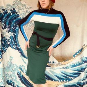 Tory Burch midi stretch merino wool turtle dress S